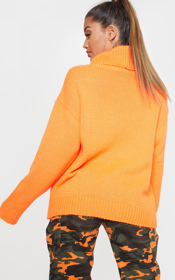 Bright Orange High Neck Fluffy Knit Jumper  2