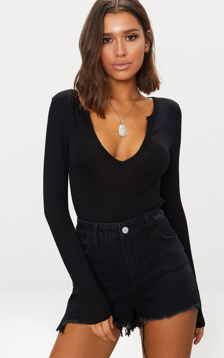 Black Jersey V Neck Long Sleeve Thong Bodysuit