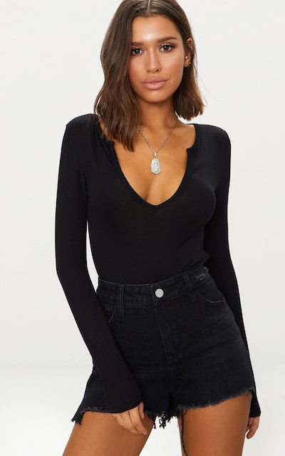 Basic Black Plunge Long Sleeve Bodysuit 5a7b628ba