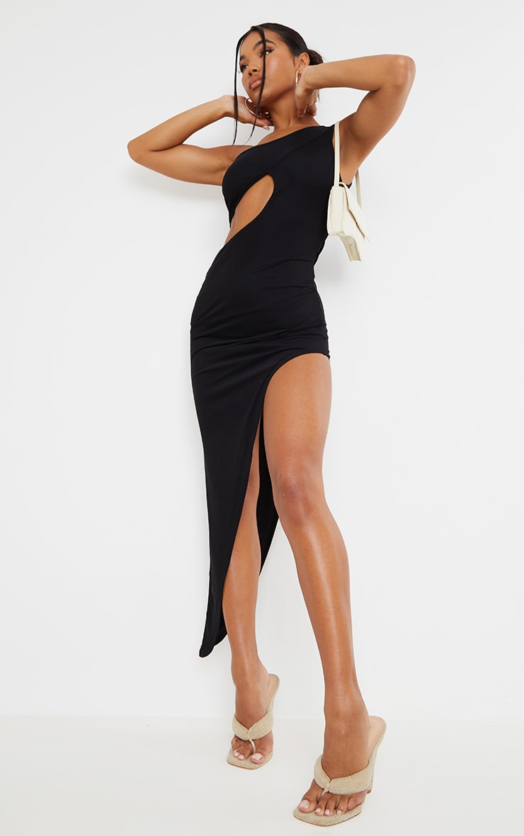 Black Mesh One Shoulder Cut Out Asymmetric Hem Midi Dress image 3