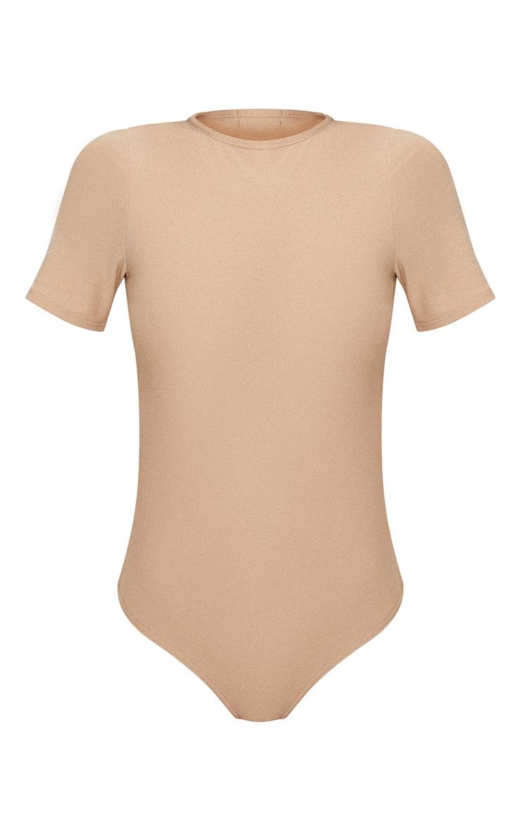 Stone Crepe Short Sleeve Thong Bodysuit 3