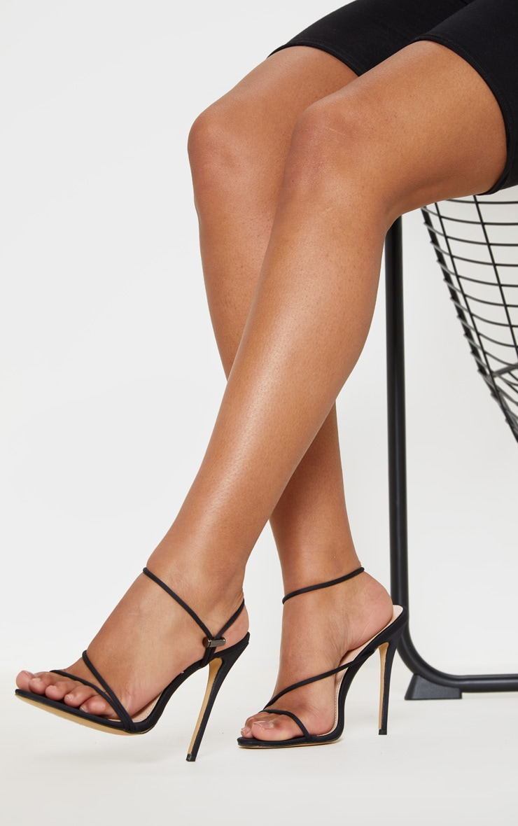 Black Toggle Tie Strappy Sandal 1