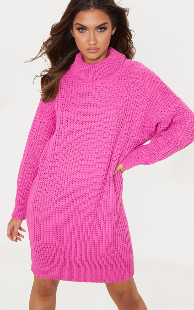 16cd2805f1f Hot Pink Oversized High Neck Knitted Jumper Dress image 1