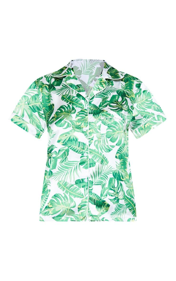 Green Palm Print Short Satin PJ Set 3