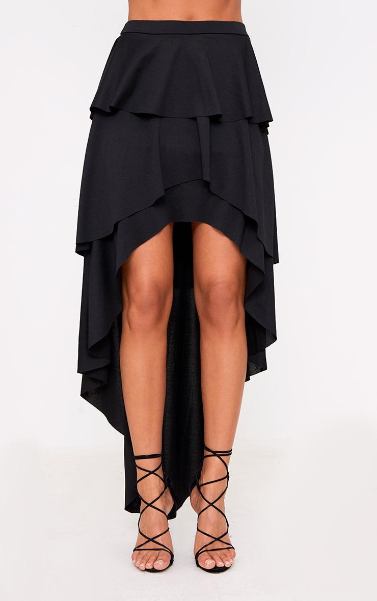 Black Hi Lo Tiered Maxi Skirt 2