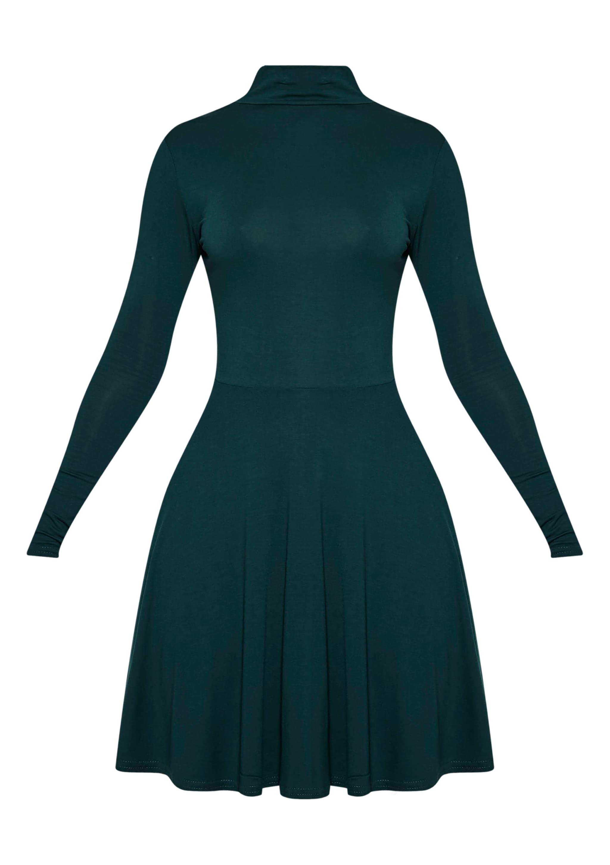 Basic Bottle Green High Neck Skater Dress 3