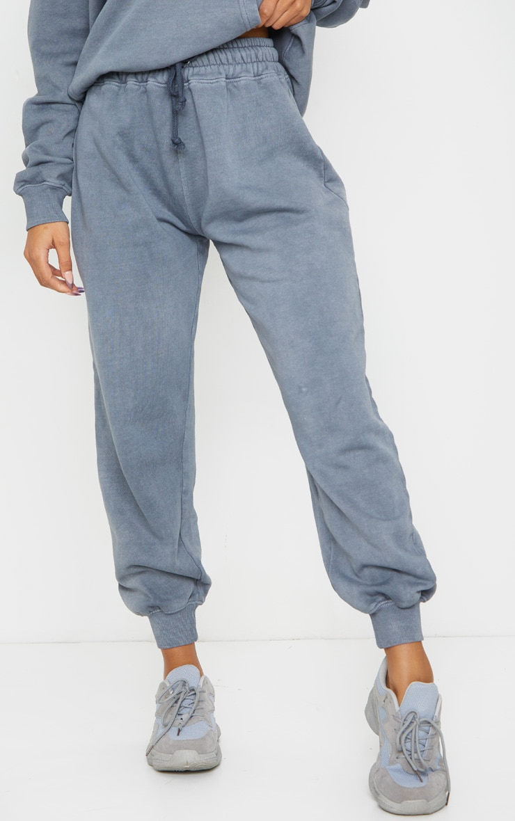 Charcoal Grey Washed High Waist Joggers 2
