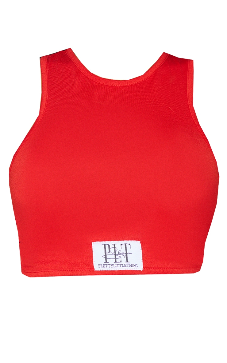 PRETTYLITTLETHING Shape Red Badge Cut Out Back Crop Top 5