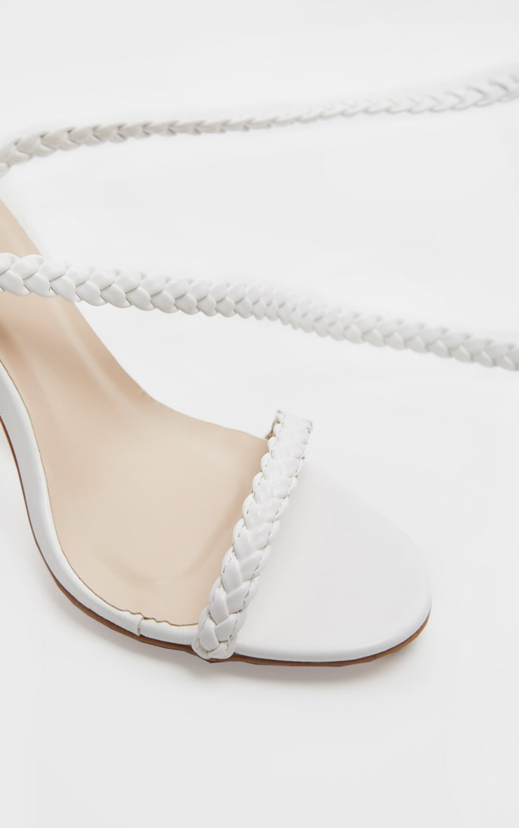 White Plaited Lace Up Ankle Tie Sandal 4