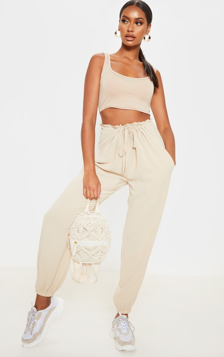 Cream Drawstring Waist Cuffed Trouser 1