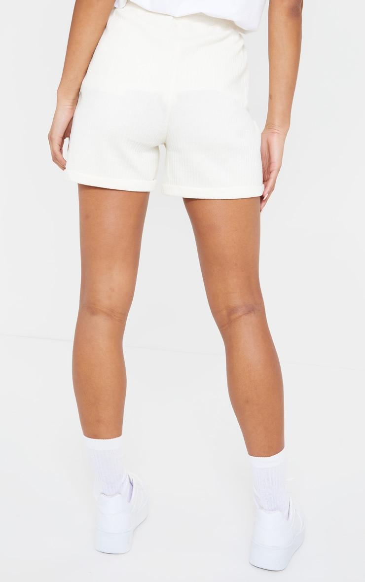 Cream Structured Rib Drawstring Waist Shorts 3