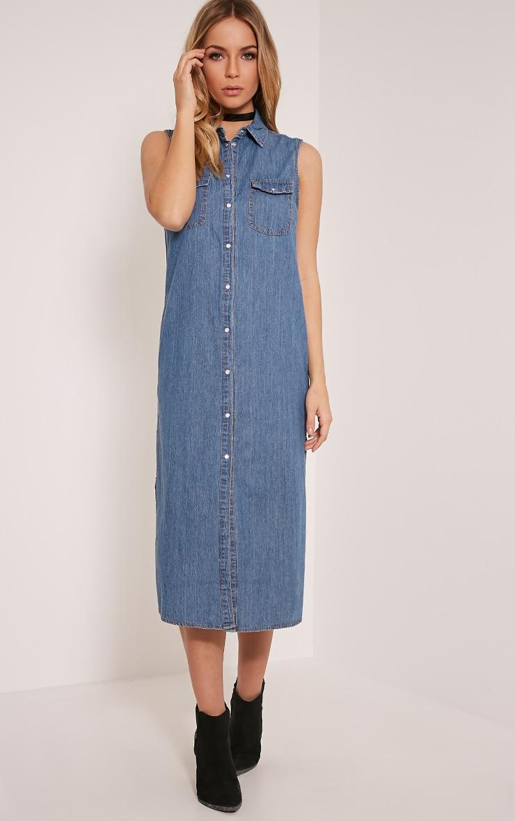 Orlena Blue Sleeveless Denim Maxi Shirt 1