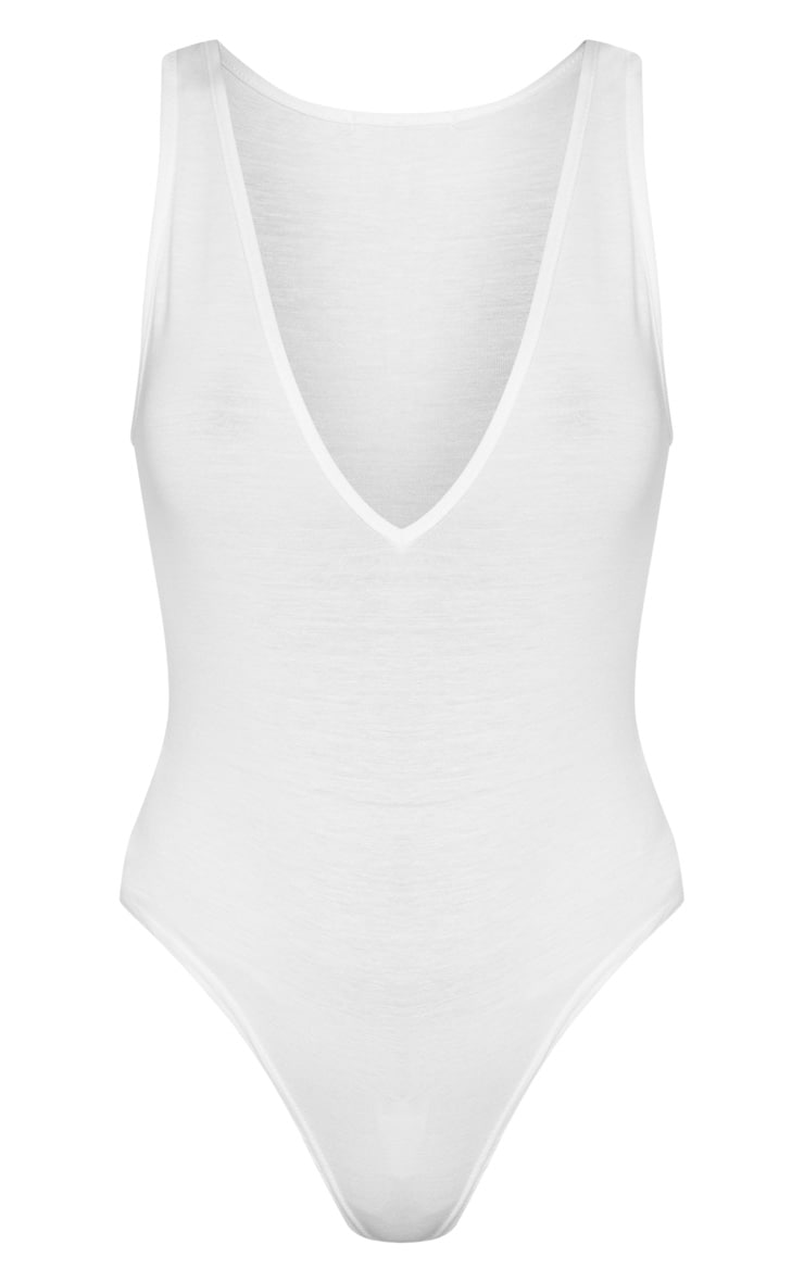 Basic White Jersey Plunge Neck Thong Bodysuit  5