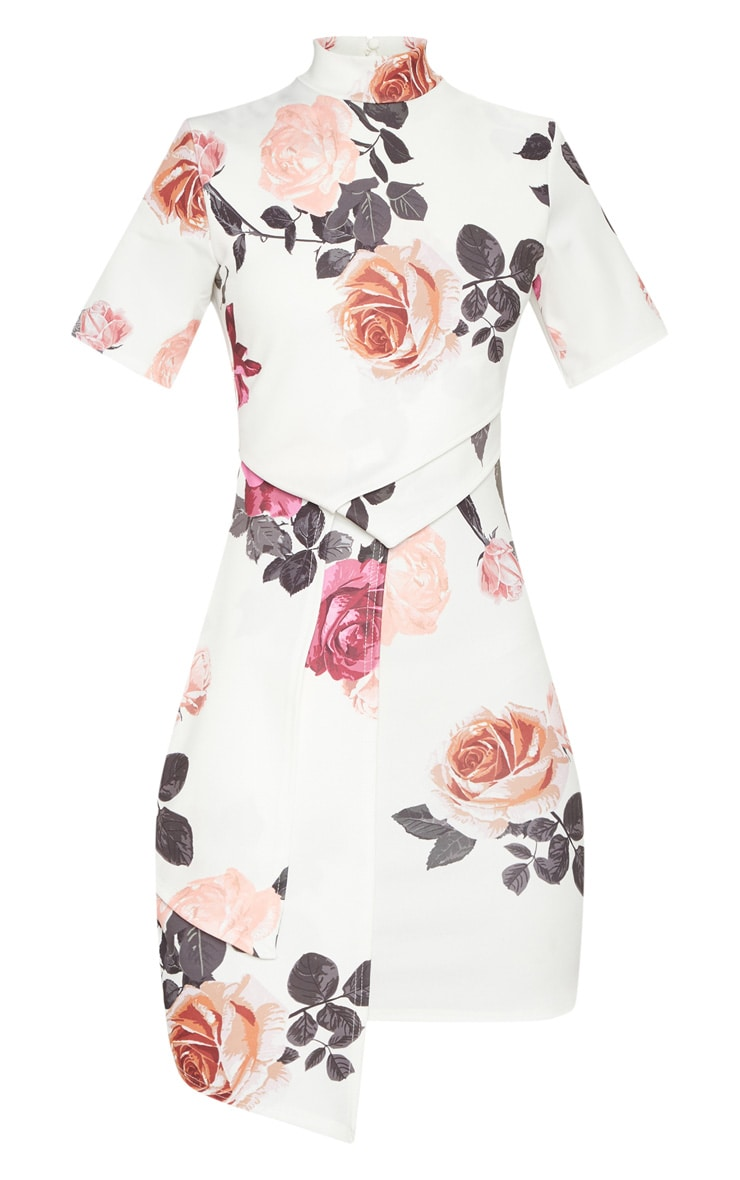 White Floral High Neck Pleated Detail Shift Dress 3