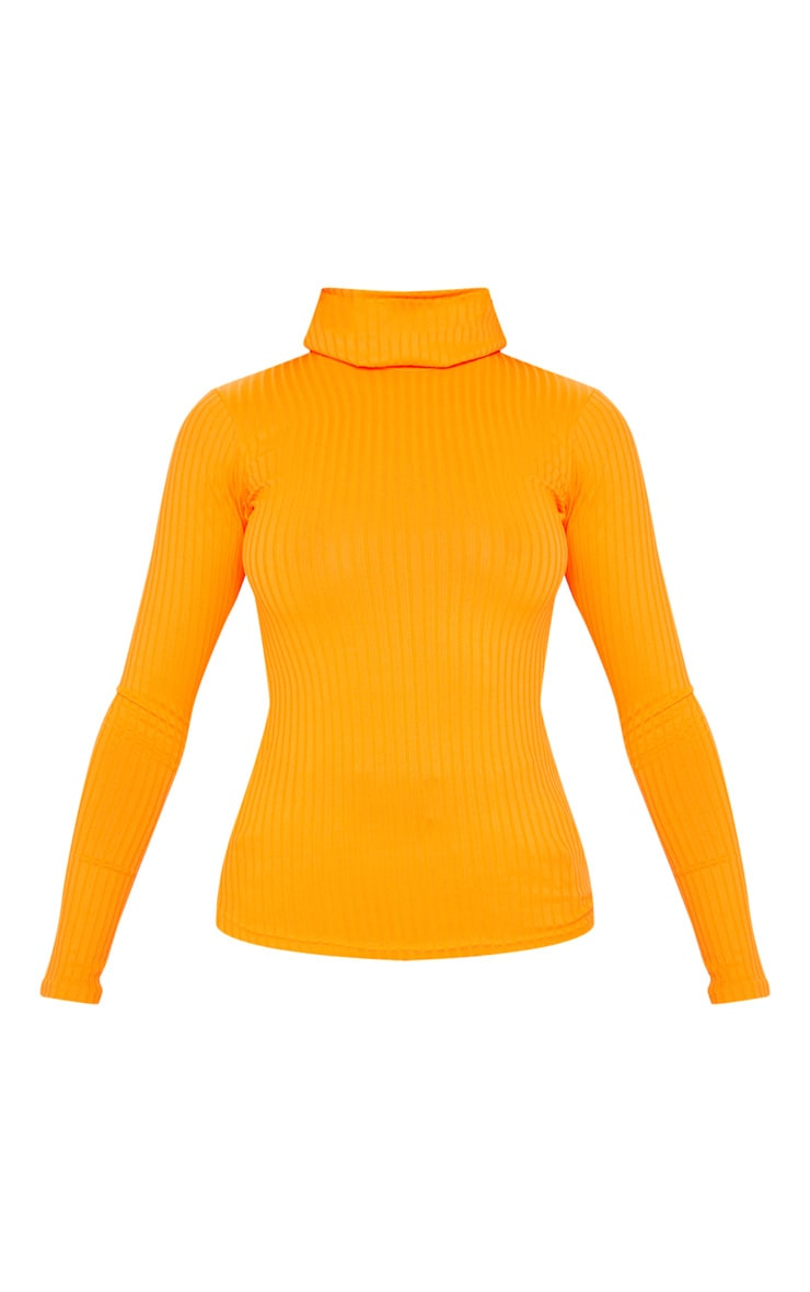 Neon Orange Rib Roll Neck Long Sleeve Top 3