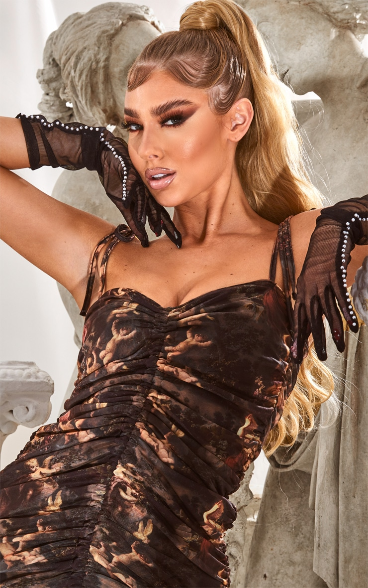 Black Renaissance Print Ruched Strappy Bodycon Dress 4