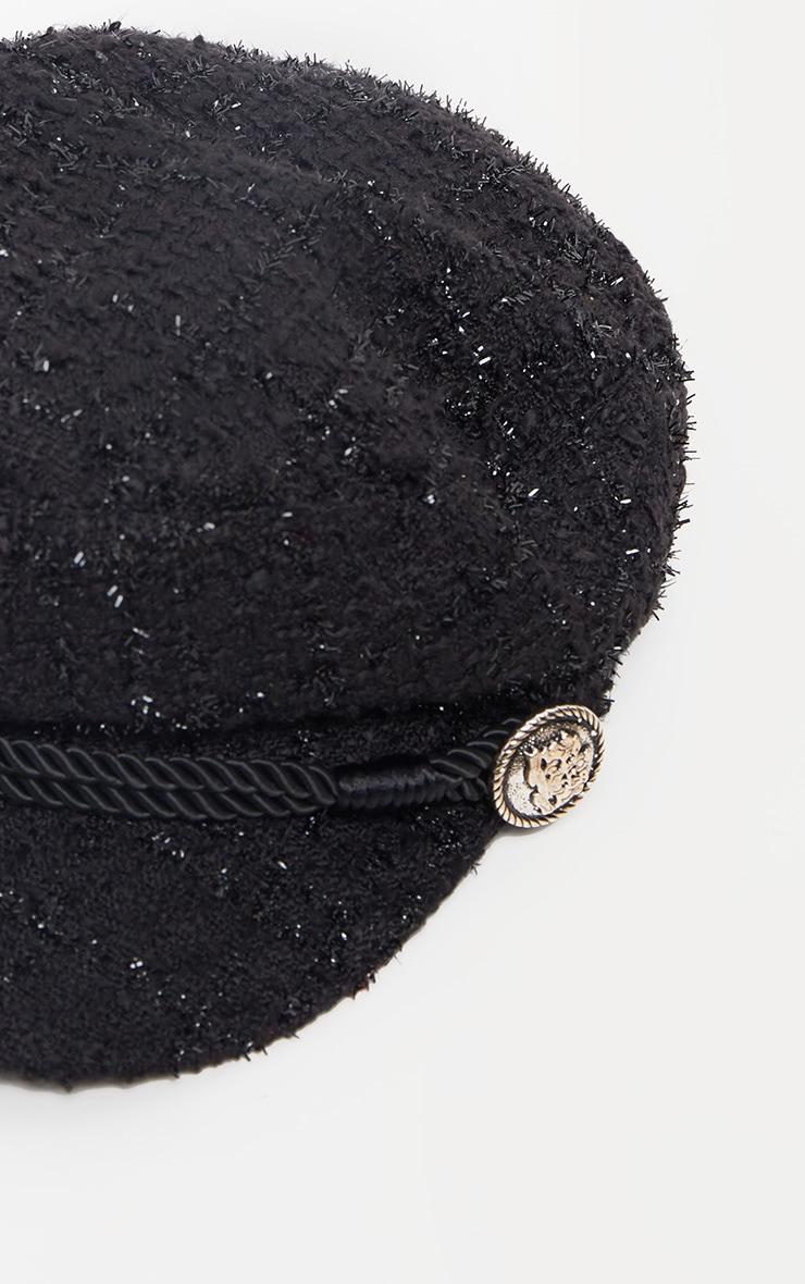 Casquette gavroche noire style tweed 3