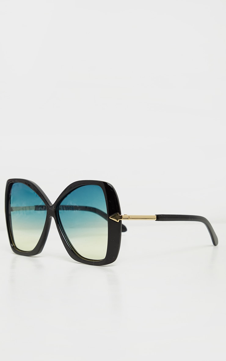 Black Oversized Angled Square Sunglasses 3