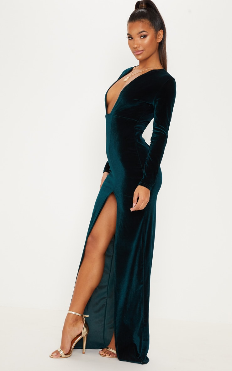 Emerald Green Velvet Plunge Split Leg Maxi Dress 4