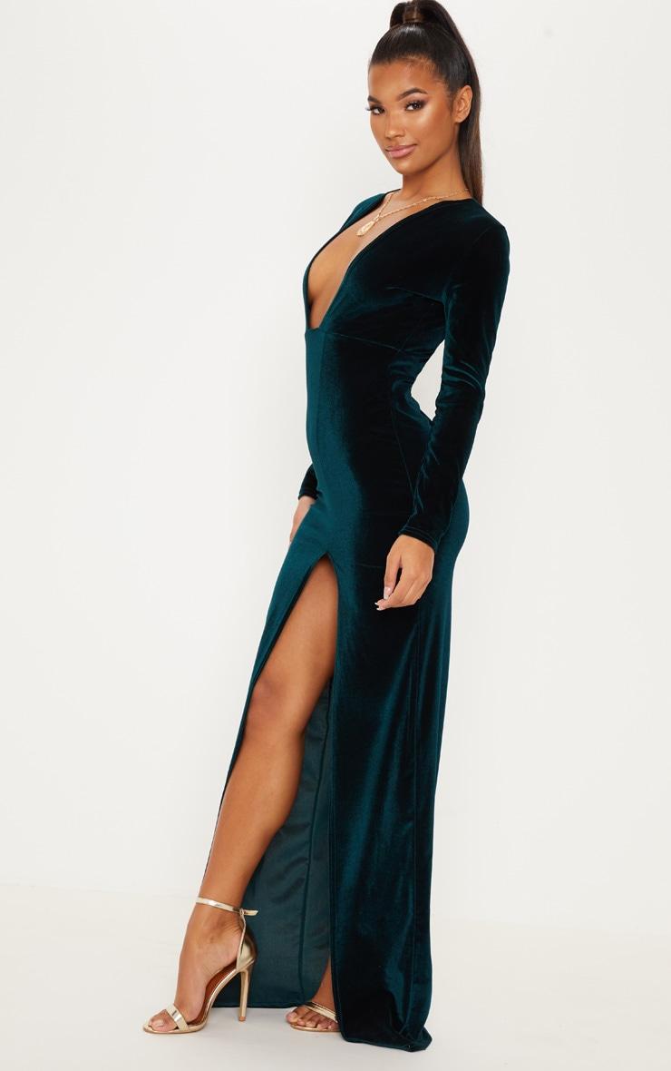 Emerald Green Velvet Plunge Split Leg Maxi Dress 5