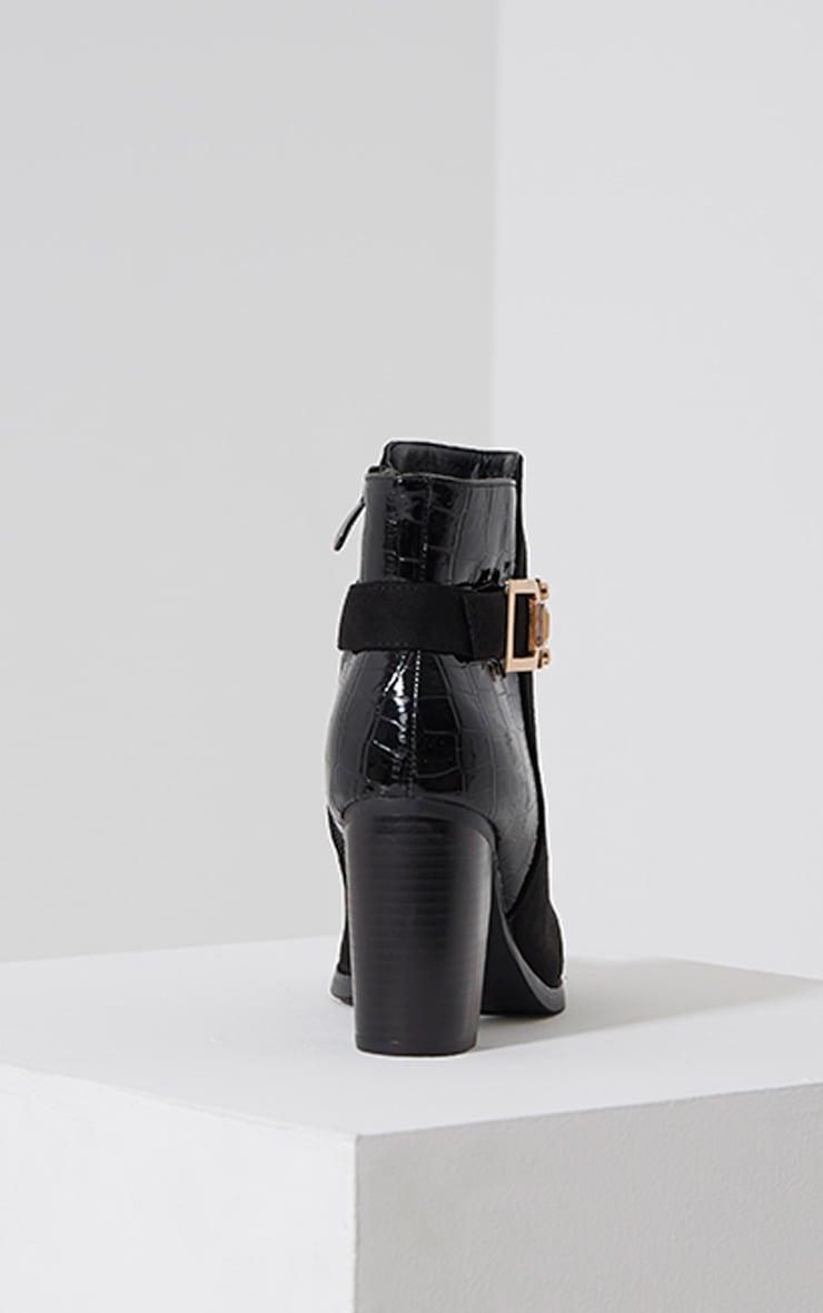 Monica Black Croc Suede Buckle Heel Boots 5