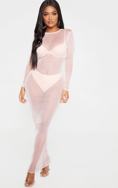 Shape Nude Sheer Glitter Long Sleeve Midaxi Dress