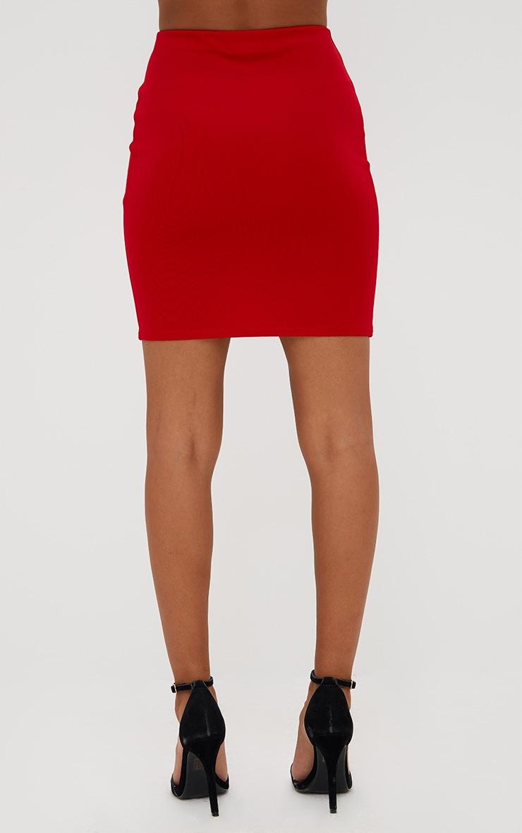Petite Red Eyelet Criss Cross Mini Skirt 4