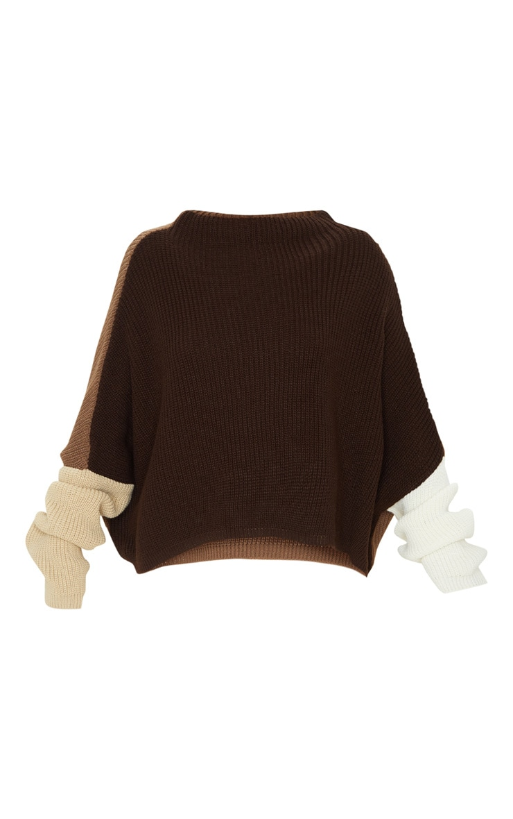 Brown Oversized Colour Block Knitted Jumper  3