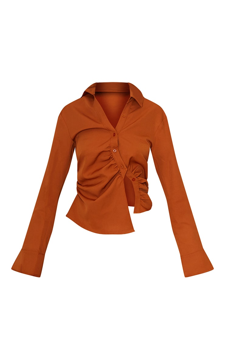 Tall Tan Ruched Blouse 5