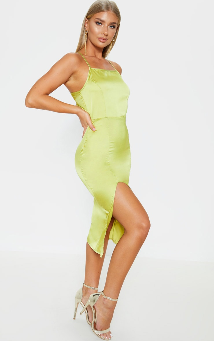 Lime Satin Backless Slip Dress 4
