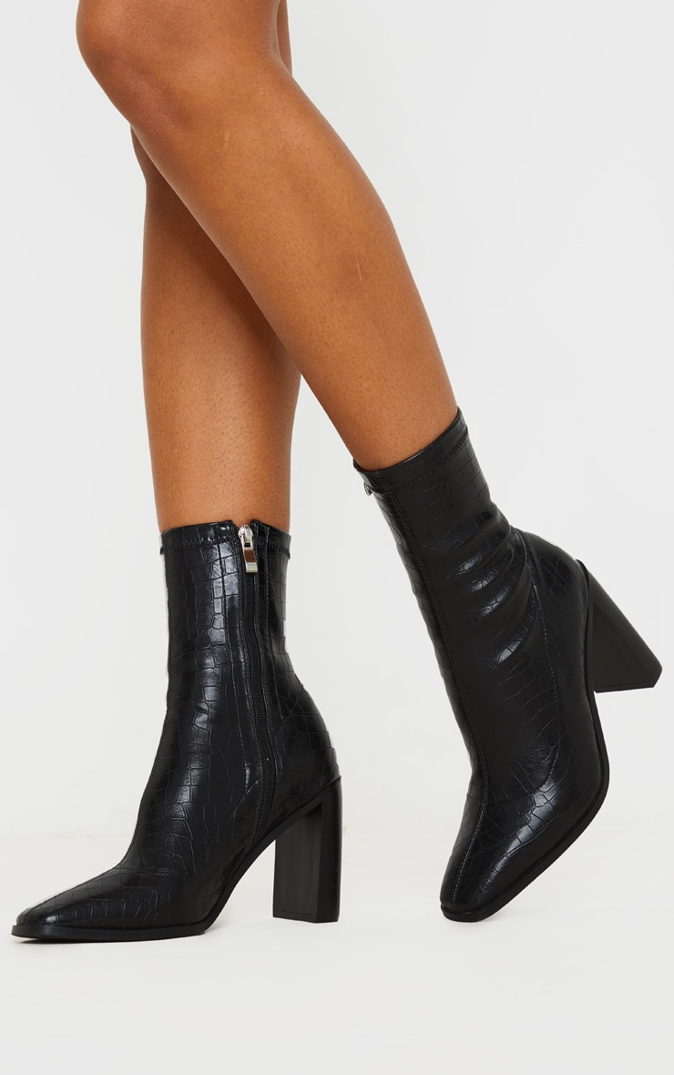 Black Flat Heel Square Toe Sock Boot 2