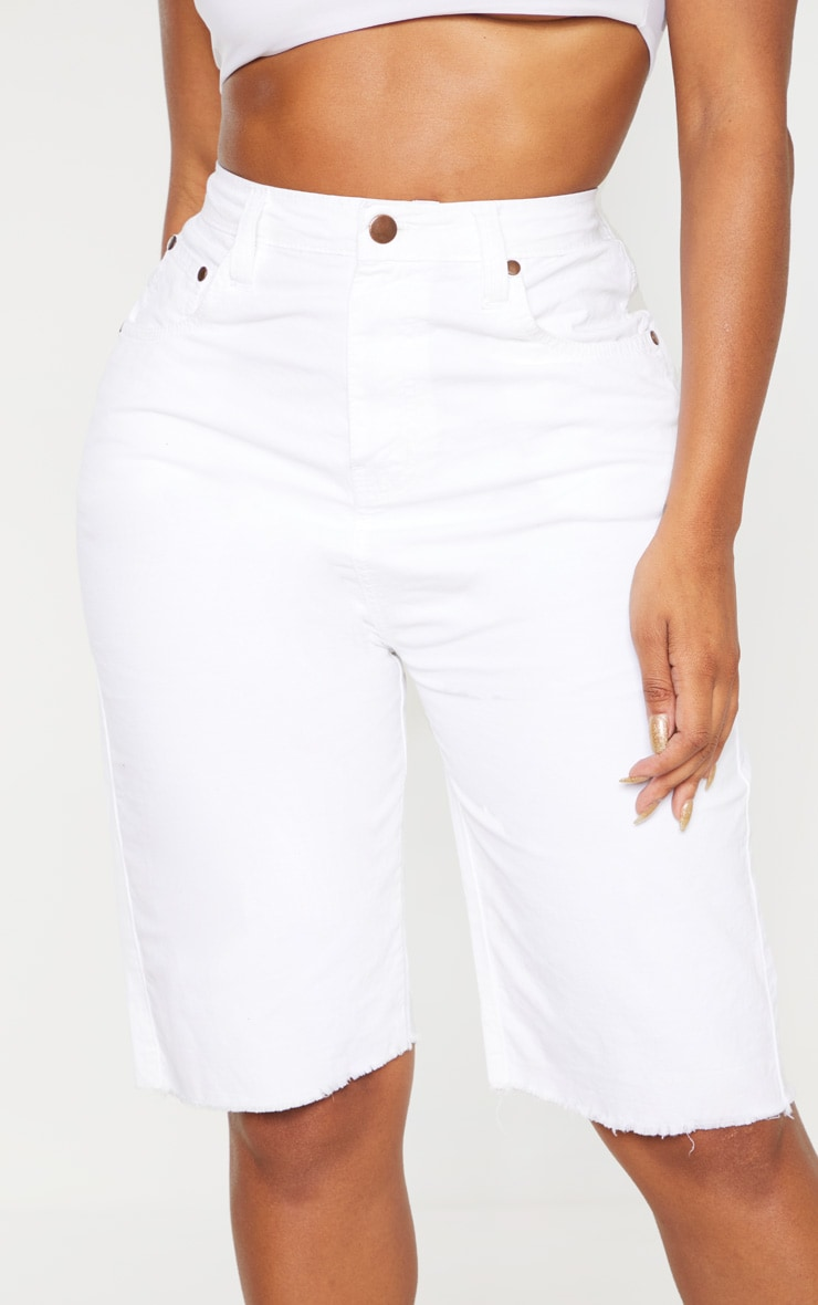 Shape White High Waisted Longline Denim Shorts 6