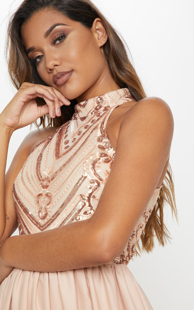 ecd0aa61d924 Rose Gold Sequin Top High Neck Maxi Dress image 4