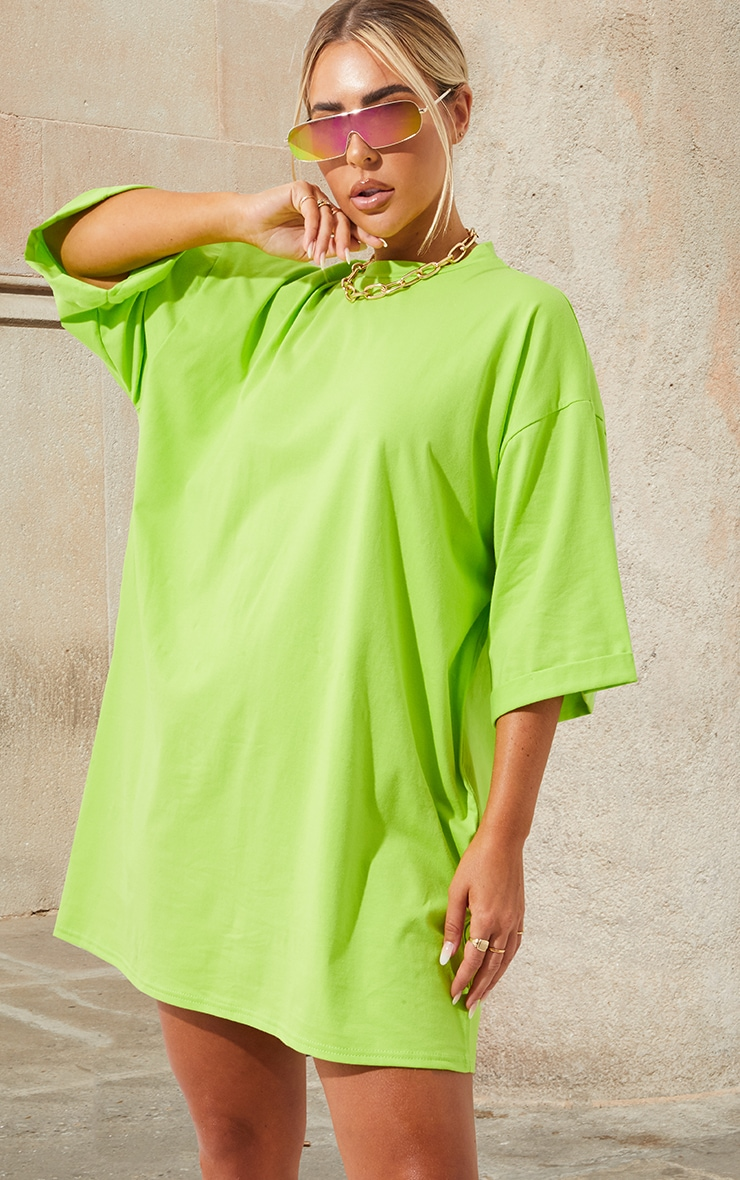 Neon Green I See You Oversized Slogan T Shirt Dress 2