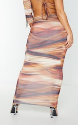 Shape Brown Layered Print Slinky Cut Out Detail Midaxi Skirt 3