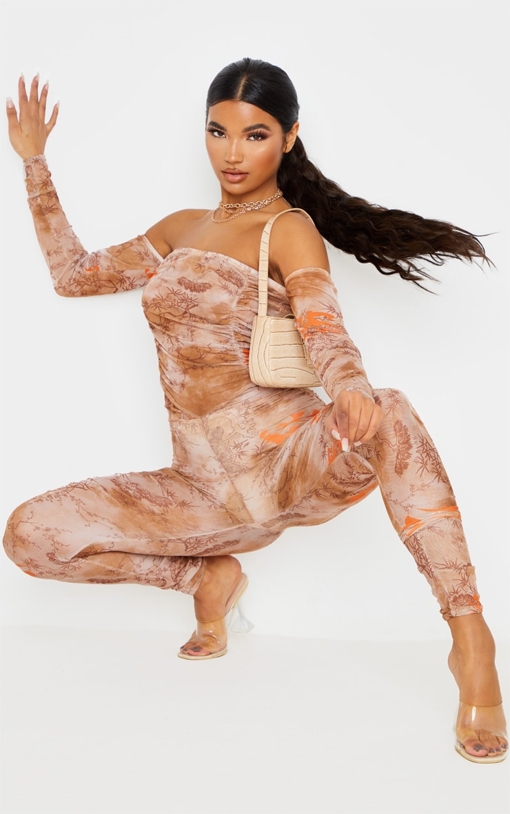 Nude Oriental Print Mesh Ruched Jumpsuit 1