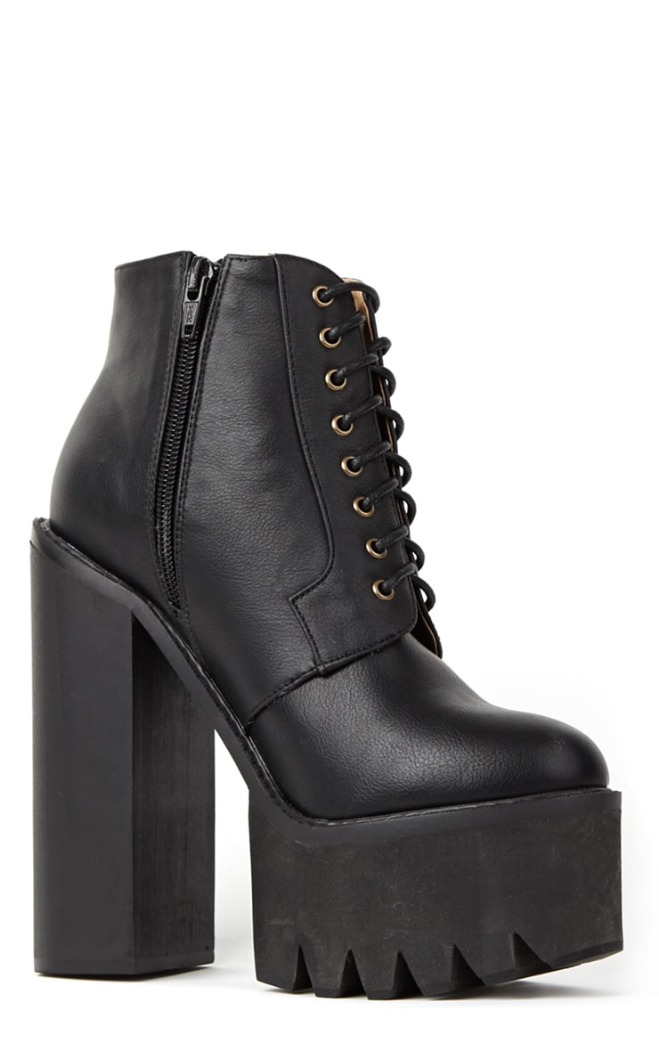 Wesley Black Chunky Lace Up Boots 2