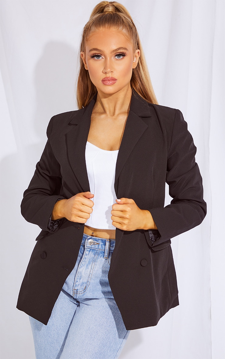 Black Double Breasted Covered Button Blazer 1