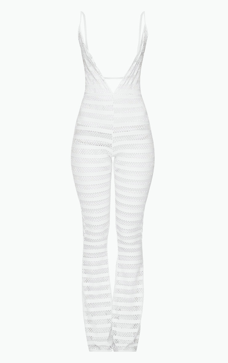 White Knitted Plunge Wide Leg Jumpsuit 3