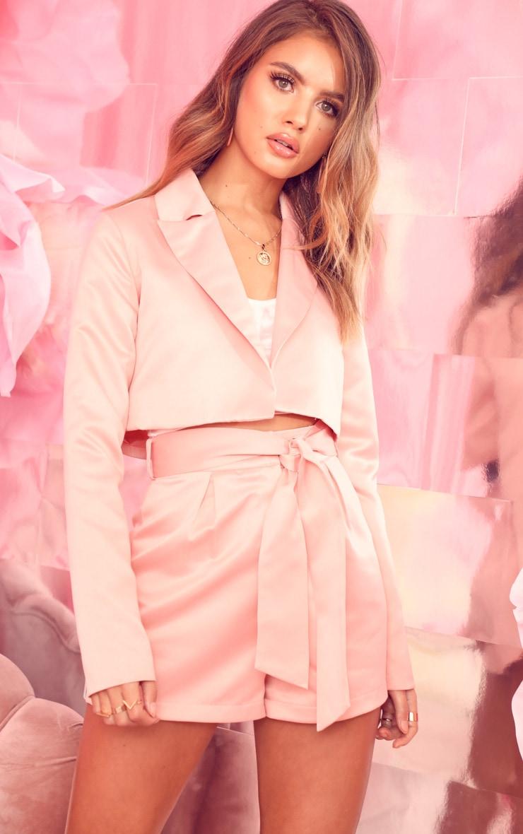 Pale Pink Tie Waist Satin Shorts 1