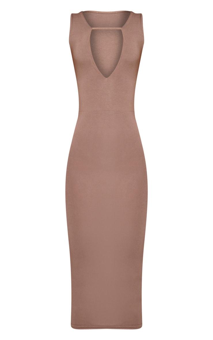 Basic robe midi plongeante à détail avec lanières taupe 3
