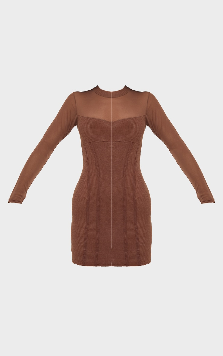 PRETTYLITTLETHING Chocolate Ribbed Mesh Insert Binded Bodycon Dress 5