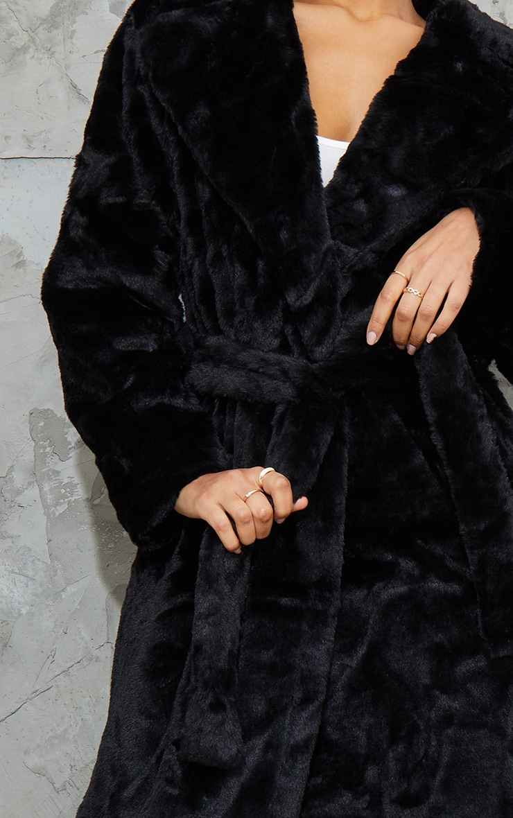 Black Belted Faux Fur Coat 4