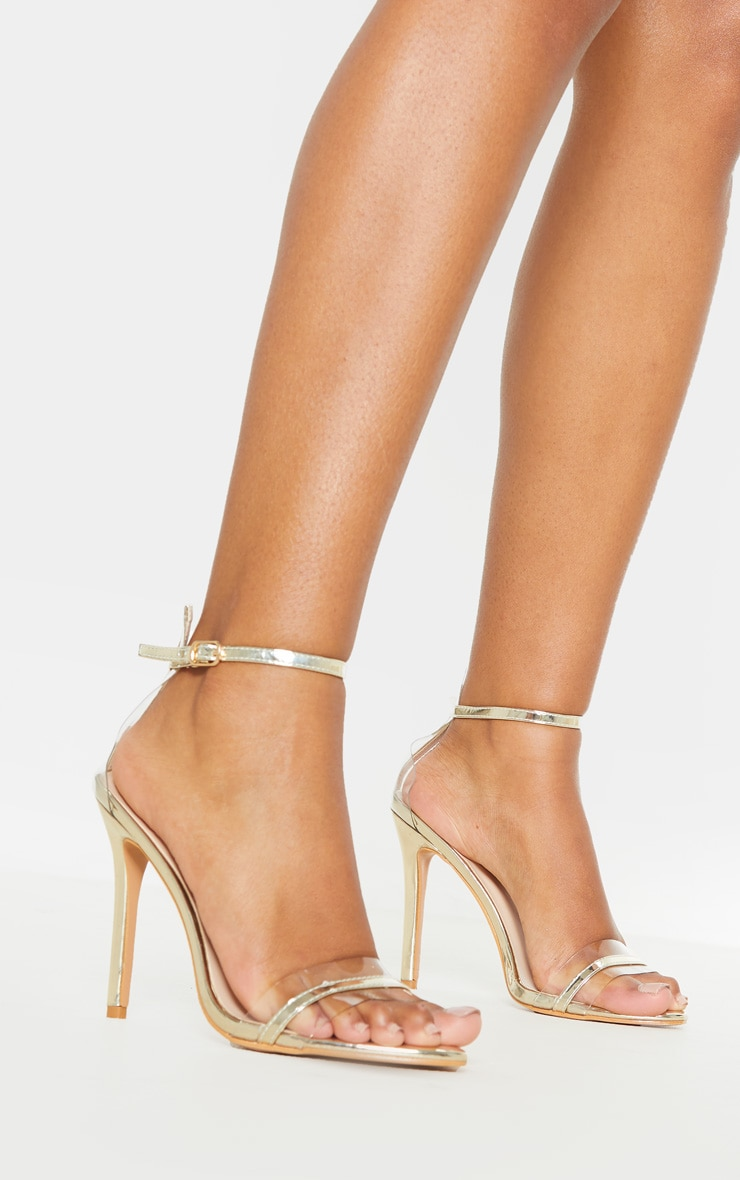 Gold Wide Fit Clear Strap Barely There Sandal 1