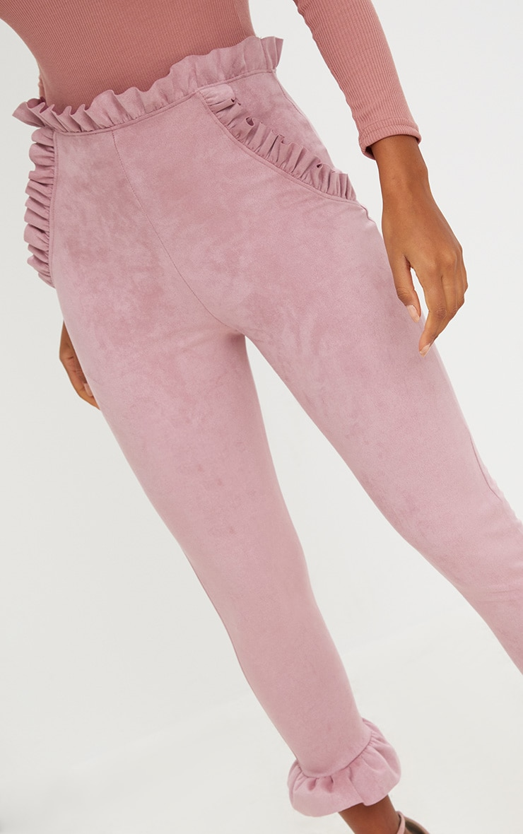 Rose Faux Suede Frill Trim Trousers 5