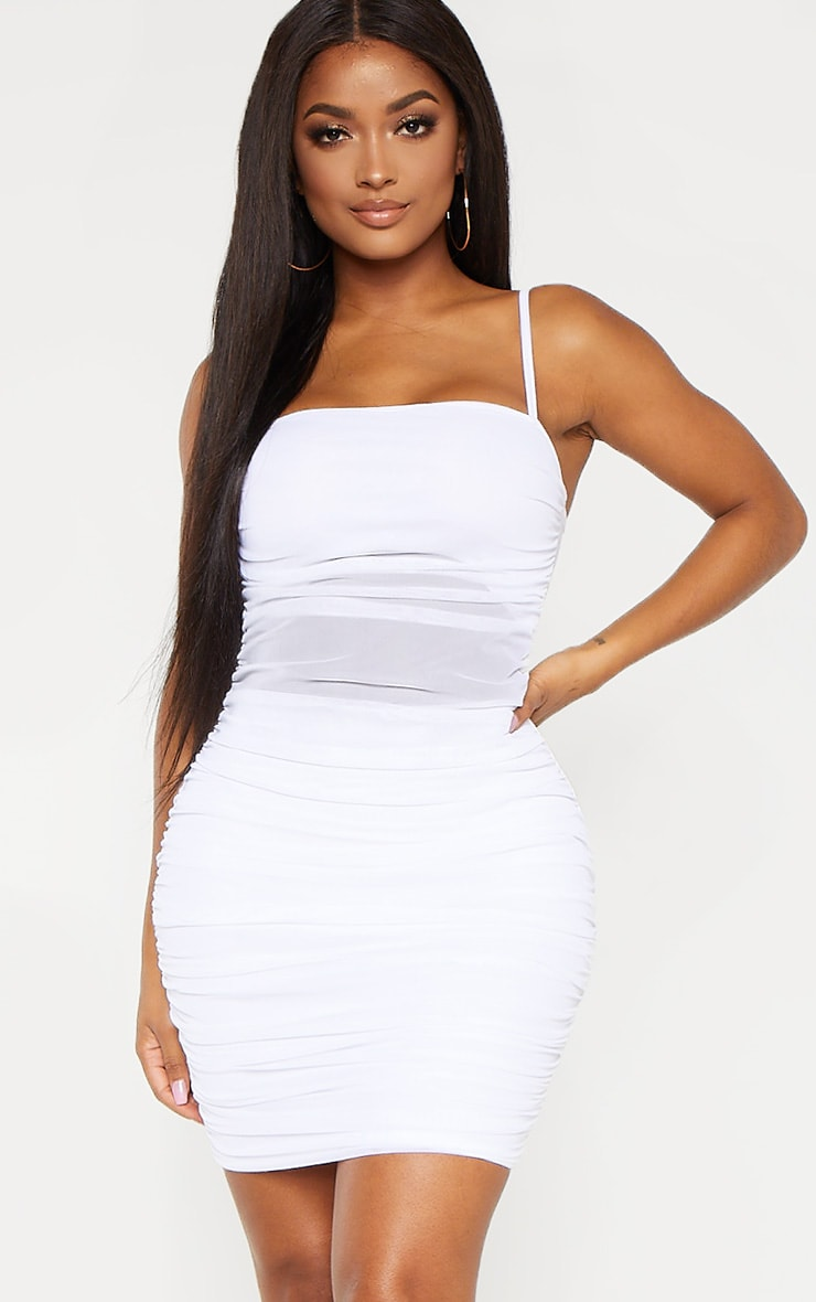 Shape White Strappy Ruched Mesh Cut Out Dress 1