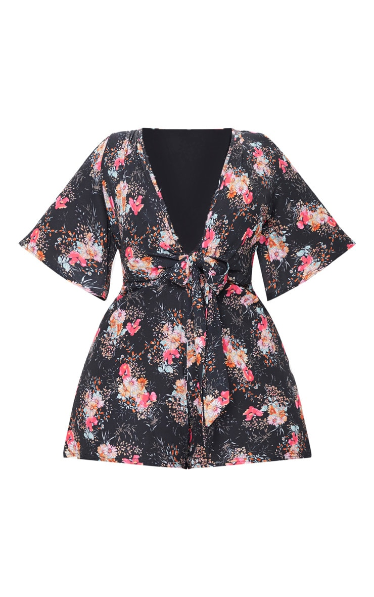 Plus Black Floral Tie Waist Playsuit 3