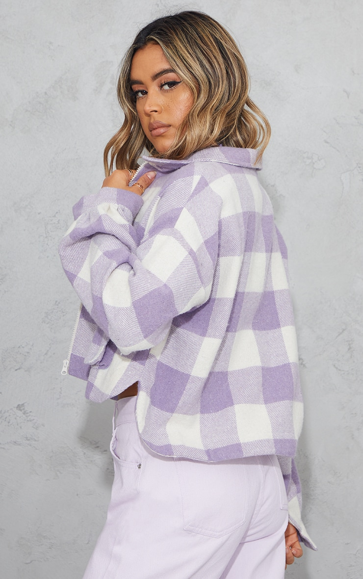 Lilac Checked Cropped Zip Detail Shacket 2