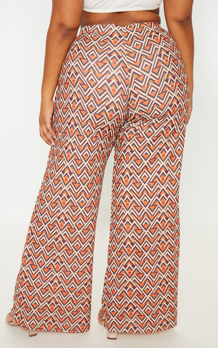 Plus Orange Aztec Print Wide Leg Pants  4