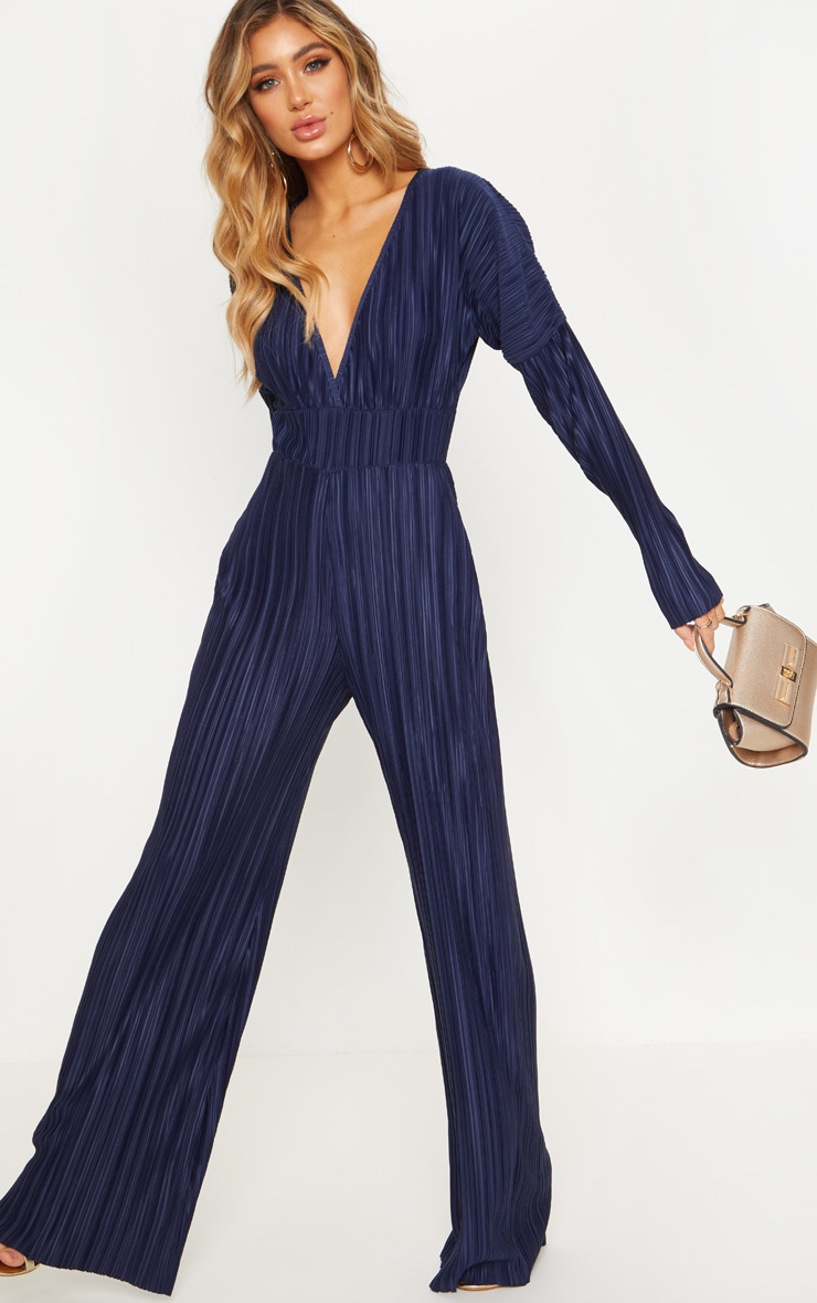 Navy Long Sleeve Pleated Jumpsuit 4